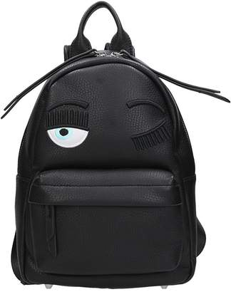 Chiara Ferragni Black Leather Small Flirting Backpack