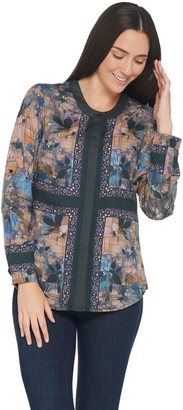 Tolani Collection Roll-Tab Sleeve Button Front Printed Tunic