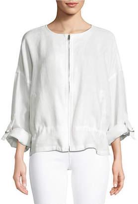 Eileen Fisher Zip Front Linen Jacket