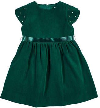 Florence Eiseman Girl's Twill Velvet Short-Sleeve Dress w/ Pearly Beaded Sleeves, Size 2-6X