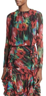 Jason Wu Long-Sleeve Floral-Print Top, Black/Multi $695 thestylecure.com