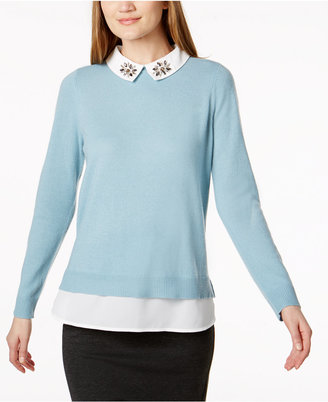 Charter Club Embellished Layered-Look Cashmere Sweater, Created for Macy's $169 thestylecure.com