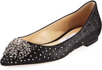 Jimmy Choo Joan Wet-Look Fabric Flat with Firework Crystal