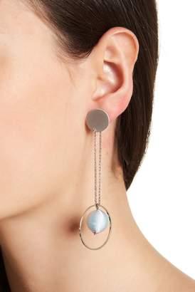 Rebecca Minkoff Disc & Hoop Threaded Pompom Front to Back Dangle Earrings