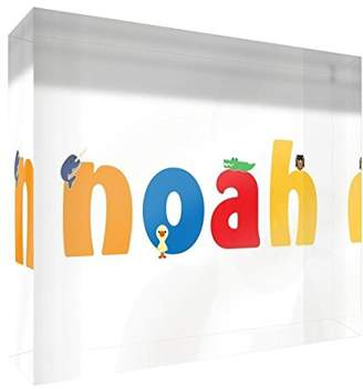 clear Little Helper Souvenir Decorative Acrylic Polished Diamond Style Illustration Purposes Young Boy with the name Coloured 15 x 21 x 2 cm Large