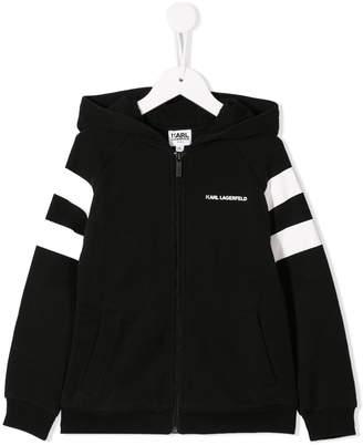 Karl Lagerfeld Paris stripe-sleeve logo hoodie