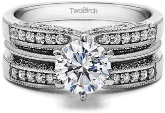 TwoBirch 2 Piece Bridal Set Includes: Guard and 1 Ct Solitaire ,Cubic Zirconia mounted in Sterling Silver. (2ctw)