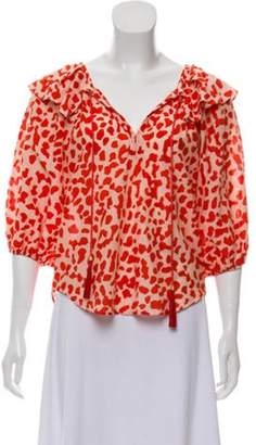 Diane von Furstenberg Printed Long Sleeve Top Red Printed Long Sleeve Top