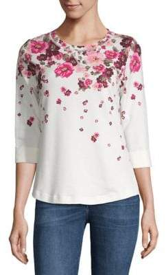 Karen Scott Petite Floral-Print French Terry Sweatshirt