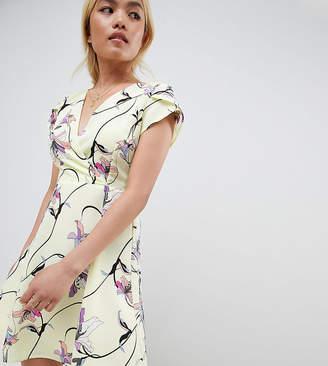 Vero Moda Petite yellow floral tea mini dress