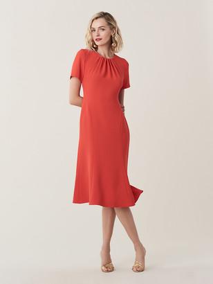 Diane von Furstenberg Rose Open-Back Crepe Midi Dress