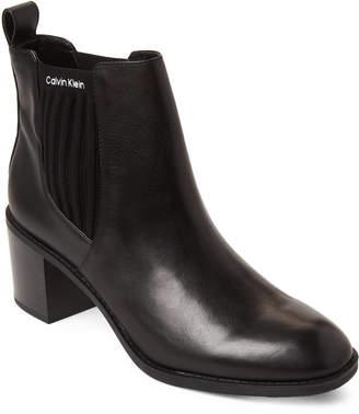 Calvin Klein Black Perron Leather Rib Knit Booties