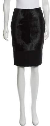 Victoria Beckham Ponyhair and Wool Knee-Length Skirt