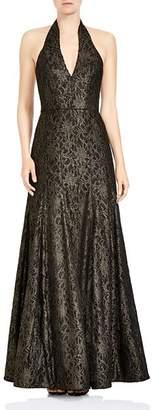 Halston Halter Deep Slit Neck Metallic Lace Gown