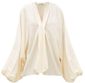 Lanvin Balloon Sleeve Wool Crepe Blouse - Womens - Ivory