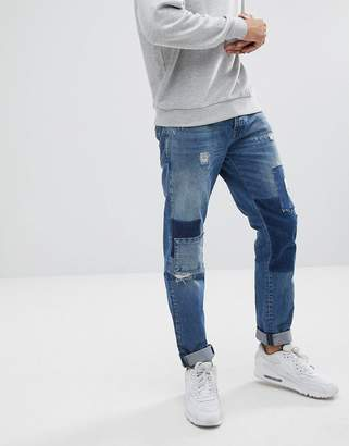 Jack and Jones Original Slim Fit Patchwork Jeans