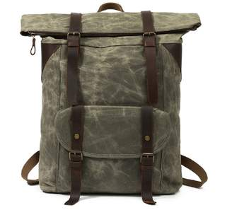 EAZO - Vintage Look Waterproof Waxed Canvas Backpack In Green