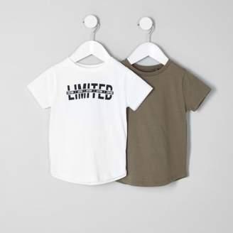River Island Mini boys khaki and white T-shirt multipack