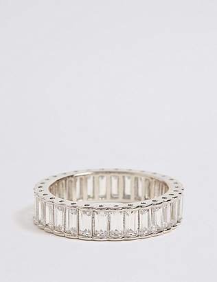 Marks and Spencer Platinum Plated Baguette Band Ring