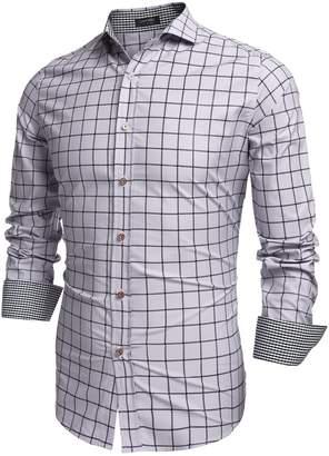 Coofandy Men's Fashion Long Sleeve Plaid Button Down Casual Shirts (, Pink)