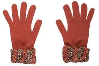 Missoni Wool-Blend Knit Gloves Mauve Wool-Blend Knit Gloves
