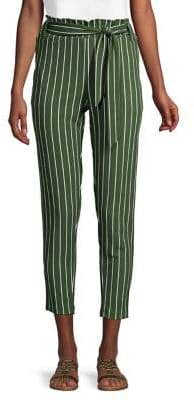 Love And Joy Striped Paperbag Cropped Pants