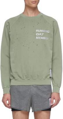 Satisfy 'Cult Moth Eaten' slogan print raglan sweatshirt