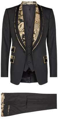 Brocade Trim Three-Piece Suit
