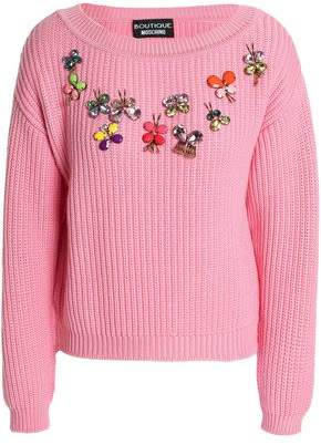 Moschino Appliqued Ribbed-knit Wool Sweater