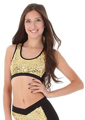 Gia Mia Dance Women's Sequin Block Bra Top Yoga Jazz Hip Hop Costume Performance Team
