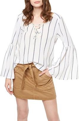Women's Sanctuary Lila Lace-Up Stripe Top $89 thestylecure.com