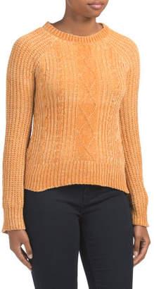 Juniors Chenille Cable Raglan Sweater