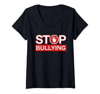 Womens Anti Bullying Shirt Bullying Awareness STOP Bullying Bully V-Neck T-Shirt