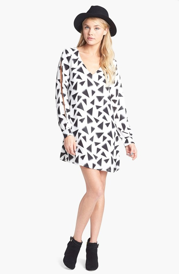 Stoosh Cutout Sleeve Print A-Line Dress (Juniors)