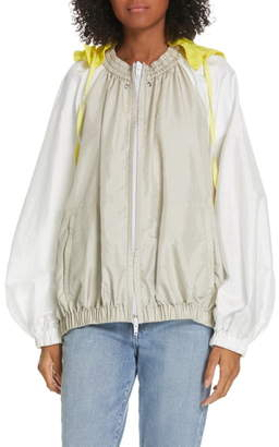 Tibi Contrast Sleeve Jacket with Detachable Hood