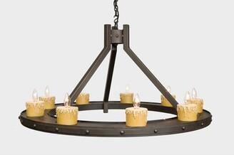 Steel Partners Rivets 9-Light Wagon Wheel Chandelier Steel Partners