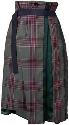 Sacai belted check midi skirt
