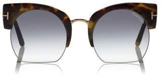 Tom Ford Savannah Half Frame Sunglasses Tortoise