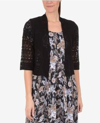 NY Collection Pointelle-Knit Cropped Cardigan
