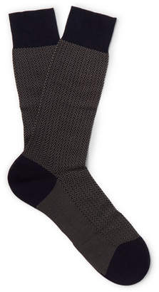 Pantherella Fabian Herringbone Cotton-Blend Socks - Men - Navy