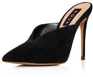 Aqua Women's Suede Pointed Toe High-Heel Mules - 100% Exclusive