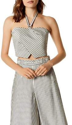Karen Millen Striped Cropped Halter Top