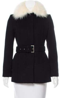 Courreges Fur-Trimmed Belted Coat