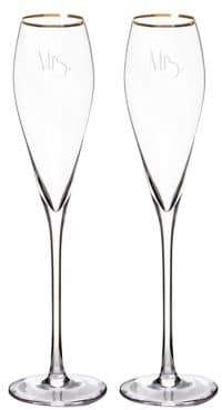Cathy's Concepts Mrs. and Mrs. Gatsby Gold Champagne Flutes