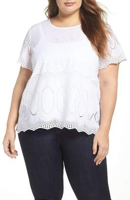 Vince Camuto Scallop Eyelet Blouse