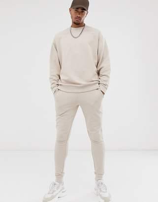 BEIGE Asos Design ASOS DESIGN oversized tracksuit in with sweatpants