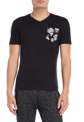Fresh Brand Printed Chest Pocket V-Neck Tee