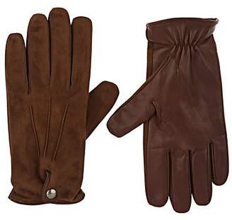 Barneys New York Men's Cashmere-Lined Suede & Leather Gloves - Lt. brown
