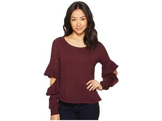 Lanston Ruffle Cut Out Pullover Top
