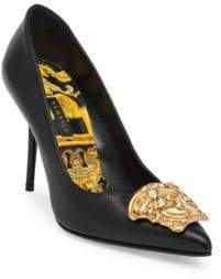 Versace Gold Medusa Palazo Tribute Pumps